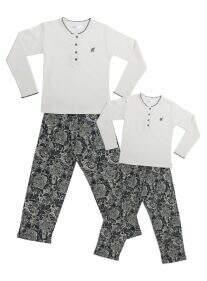 Pijama Floral Petróleo e Cru