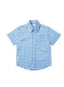 Camisa Poplin Xadrez Azul