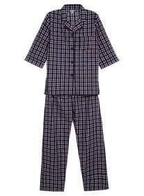 Pijama Camisa e Calça Xadrez Azul Marinho Adulto