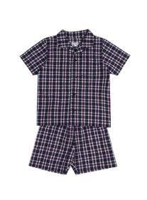 Pijama Camisa e Short Xadrez Azul Marinho Infantil